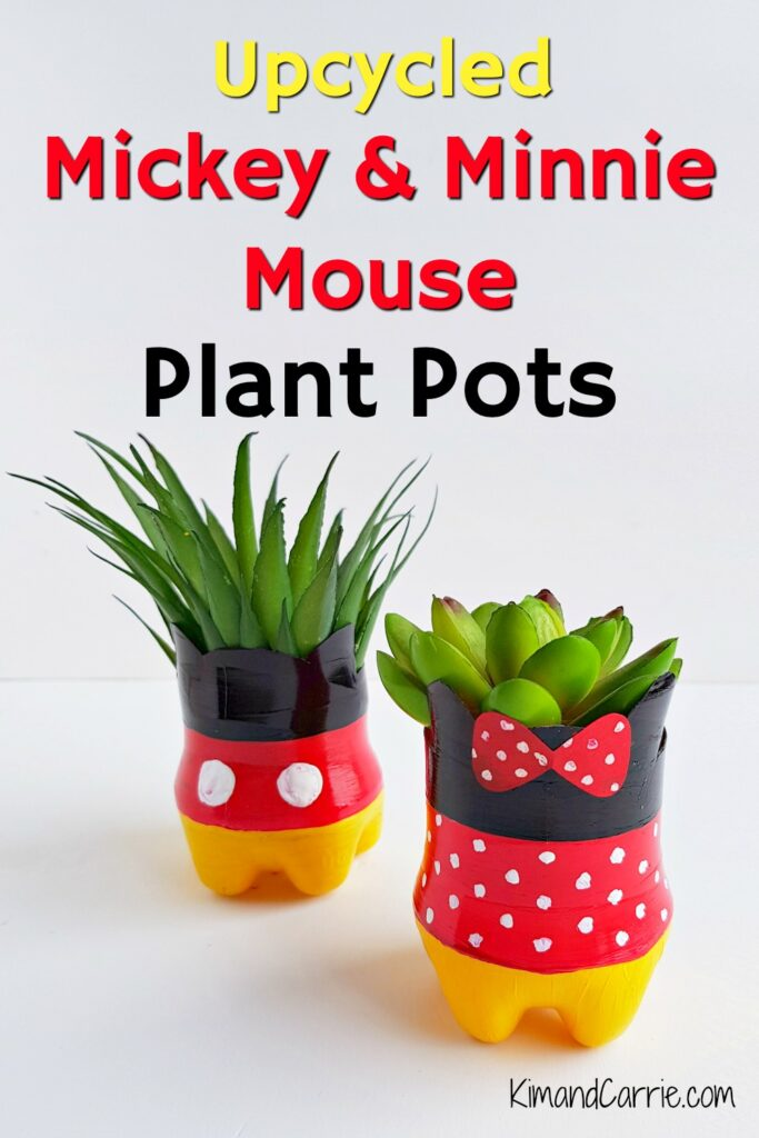 upcycling plastic bottles Mickey Mouse succulent pot