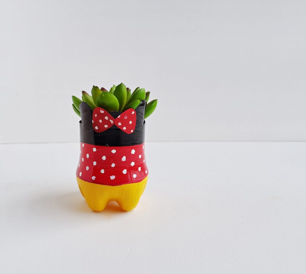 Minnie Mouse flower pot with succulent upcycled plastic water bottle