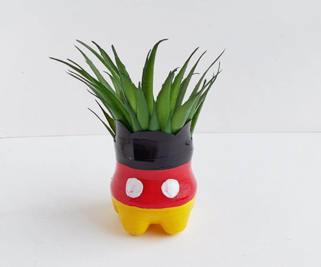 Mickey Mouse flower pot upcylced from plastic bottle