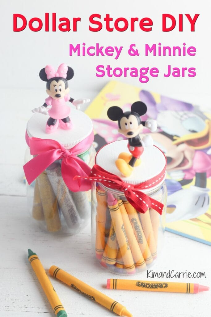 Mickey and Minnie Mouse storage jars Dollar Store DIY