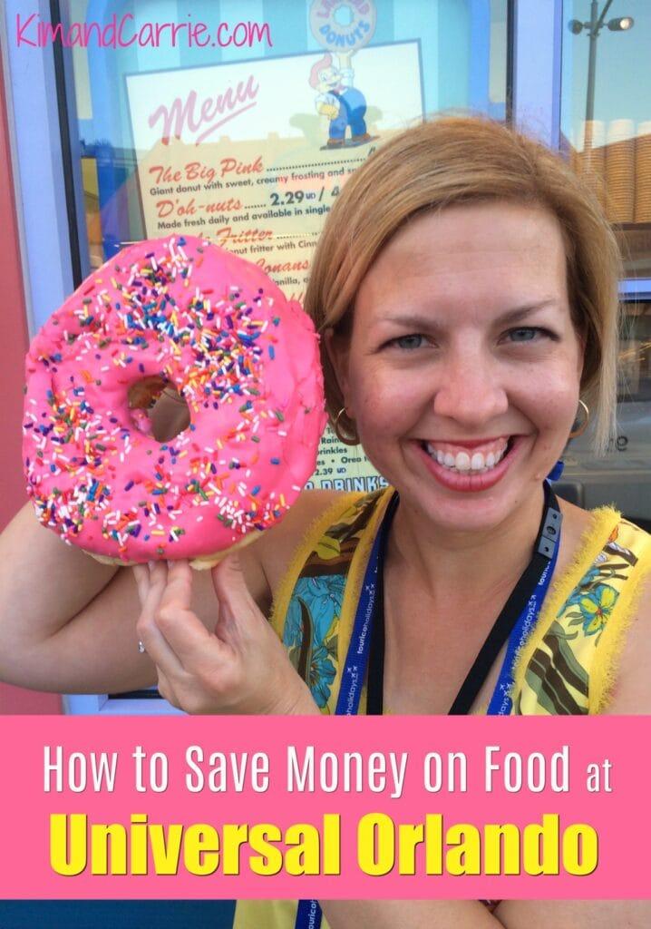woman holding pink glazed donut at Universal Studios Orlando Resort