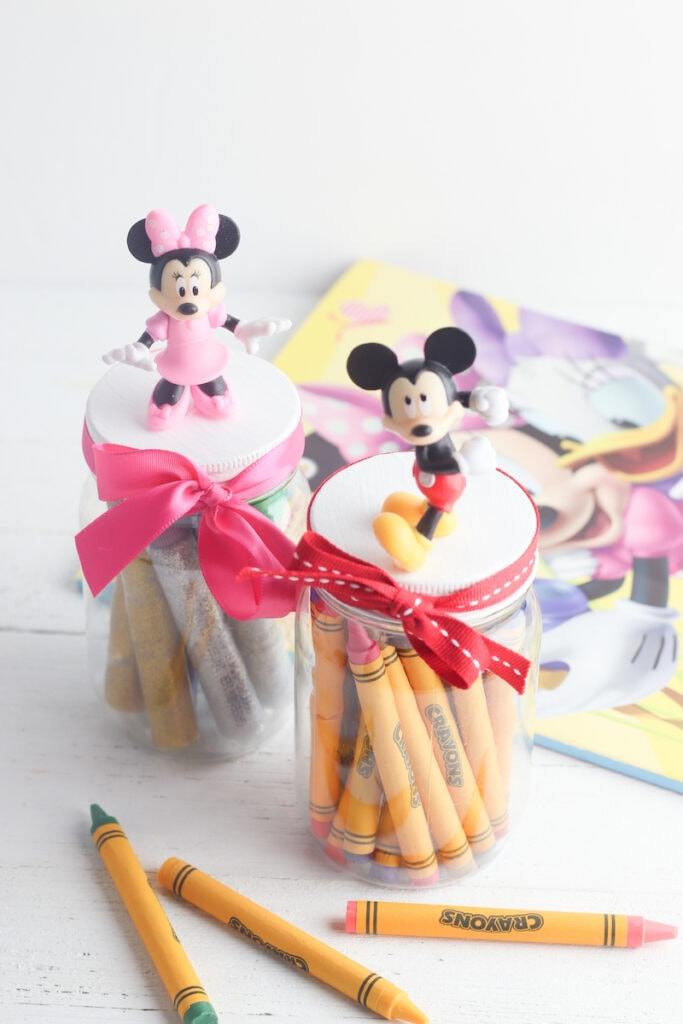 mickey and Minnie Mouse storage jars DIY craft