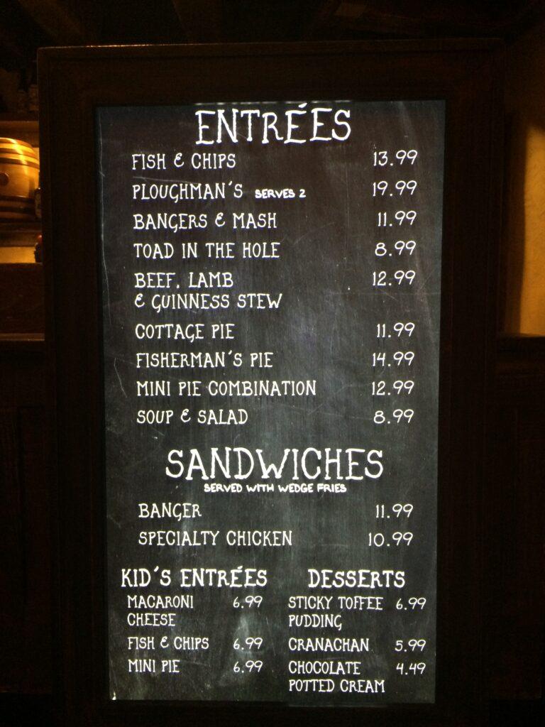 Universal Orlando food prices menu