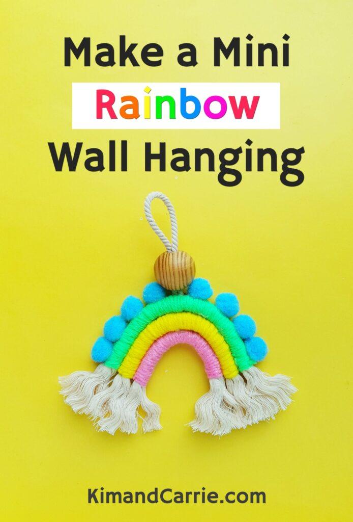 rainbow macrame charm on yellow background