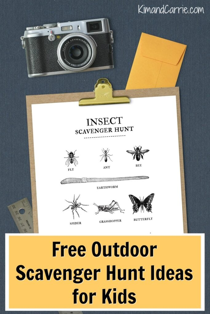 insect scavenger hunt with old camera on navy backdrop