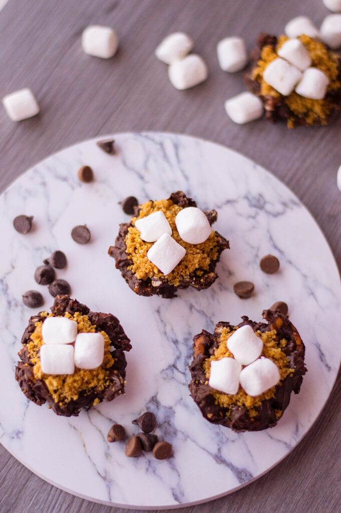 bite size snacks with chocolate graham cracker crumbs and miniature marshmallows on white marble plate