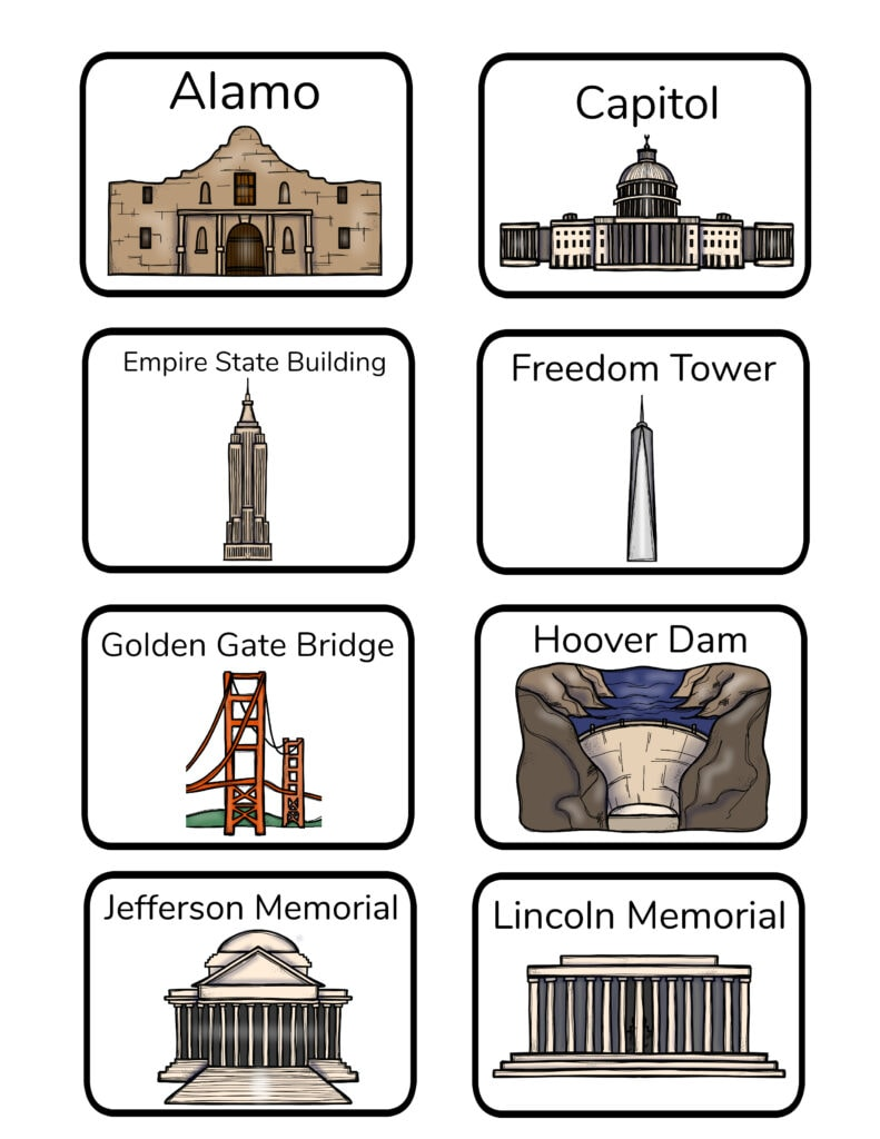 flashcards of U.S. national landmarks