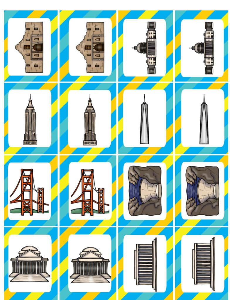National landmarks on matching game pieces