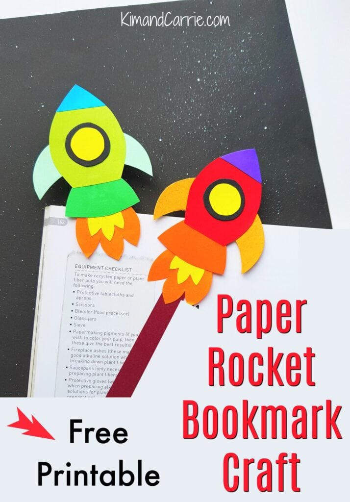 paper rocket craft bookmarks on book page