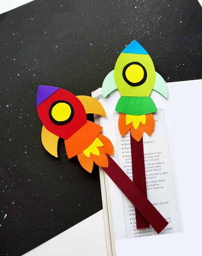 paper rocket bookmarks