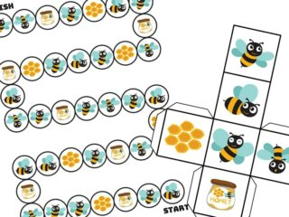 printable board game with honey bees