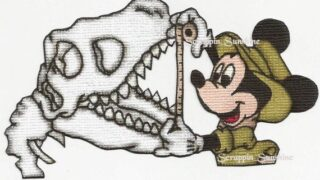 DISNEY Mickey and Dinosaur Skull - Dinoland Printed Paper Piece for Scrapbook Pages - SSFF