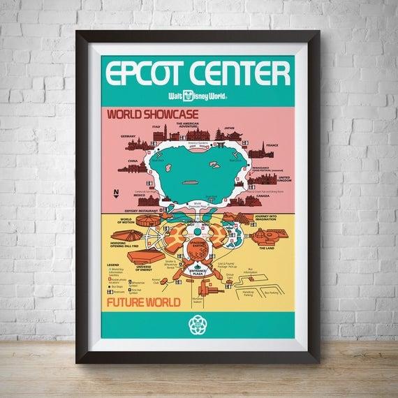 Epcot Vintage, Epcot Park Map, Disneyworld Poster, Disneyland Vintage, Disney Print, Epcot Center Map, Epcot Center, Disney Wall Art