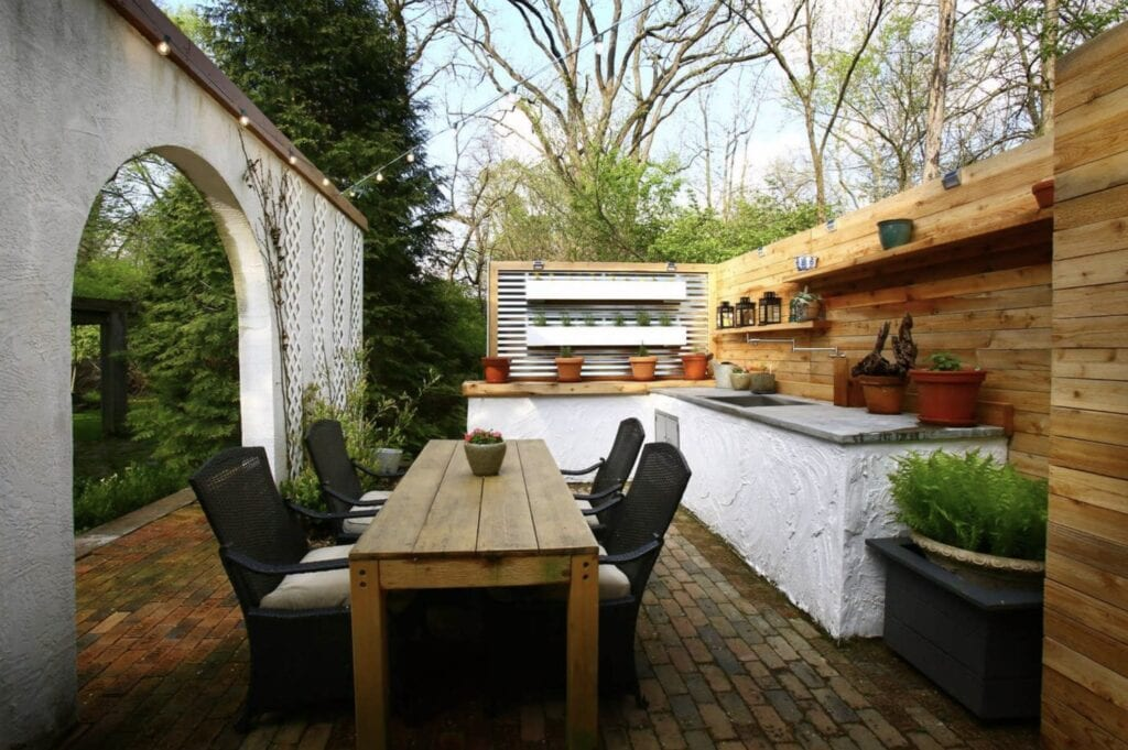outdoor garden kitchen dining room area