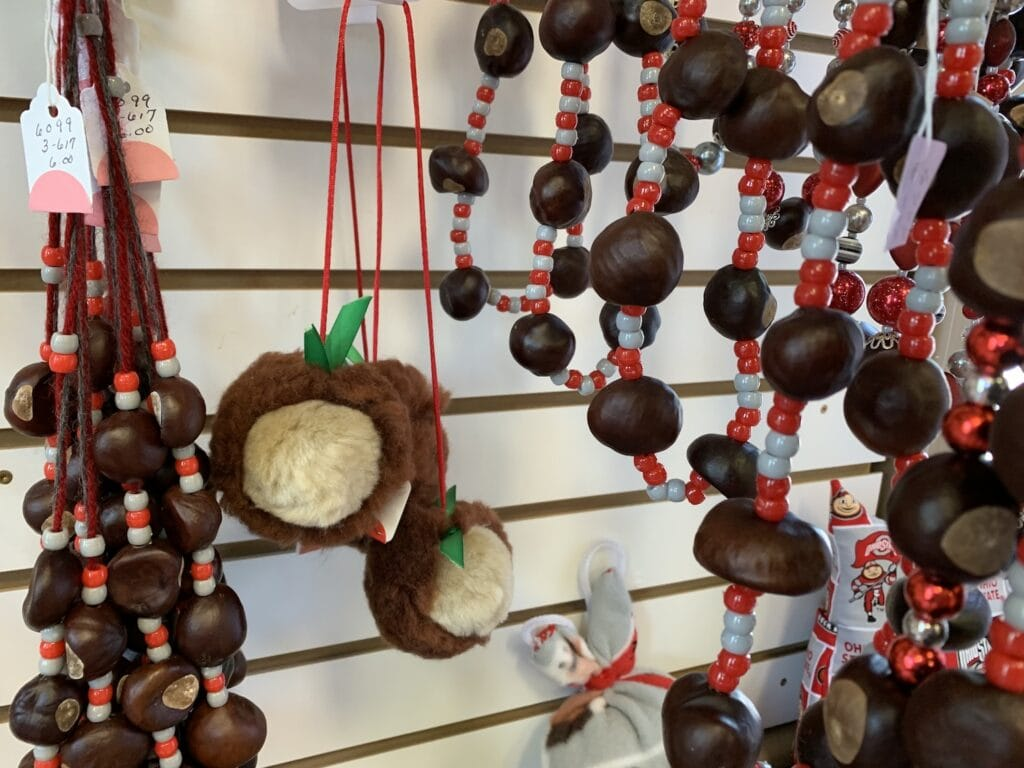 Ohio buckeye felt ornaments and necklaces