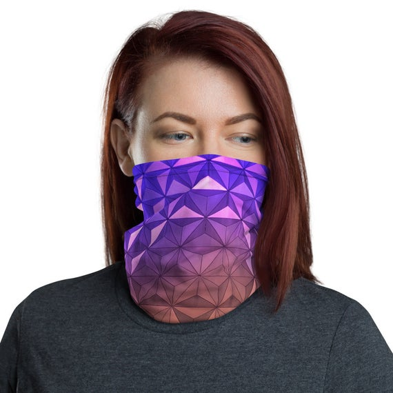 Nighttime Epcot Spaceship Earth Inspired Neck Gaiter / Snood