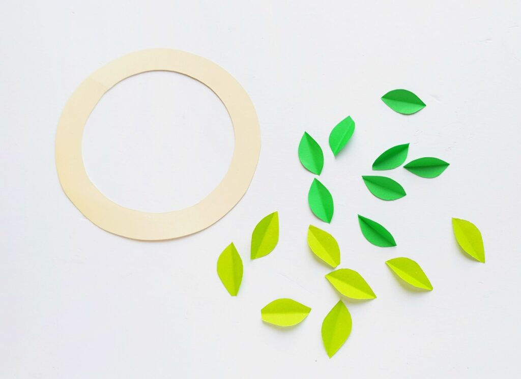paper green leaves folded in half