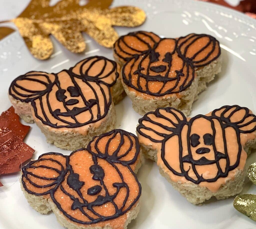 Mickey Mouse shaped pumpkin rice krispy treat snacks