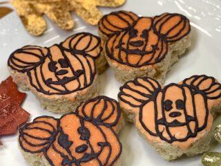 Mickey Mouse shaped pumpkin rice krispy treat snacks