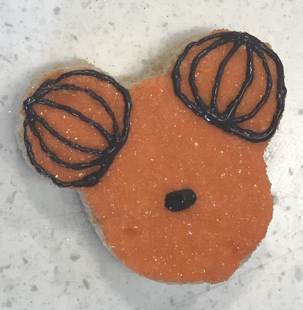 black icing nose on Mickey Mouse treat