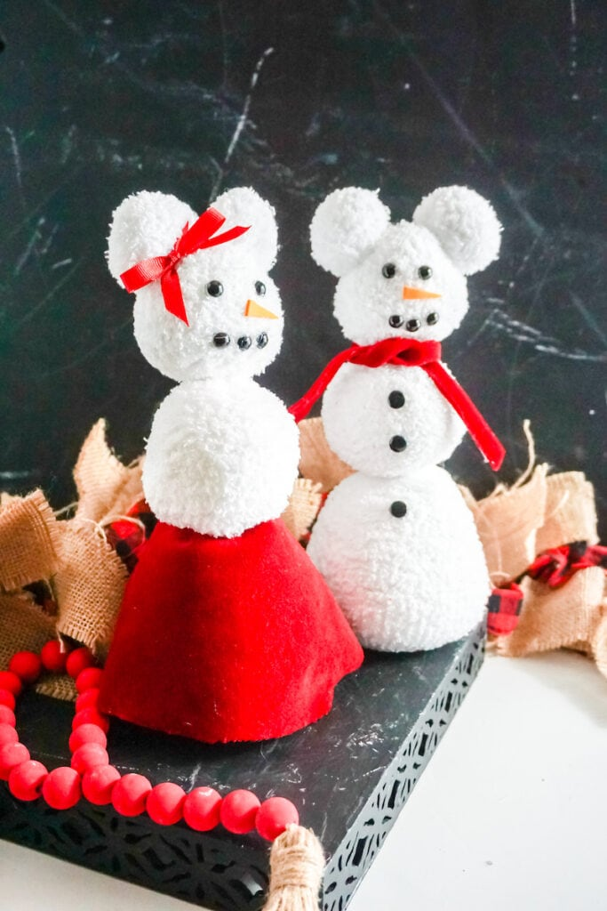 mickey and Minnie snow people from socks