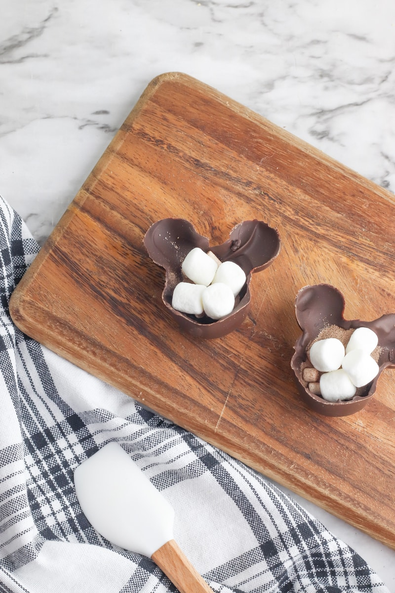 marshmallows inside homemade hot chocolate bombs