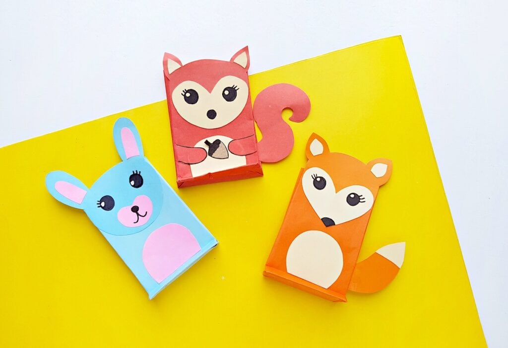 Paper Bag Puppet Fox Templates on yellow background