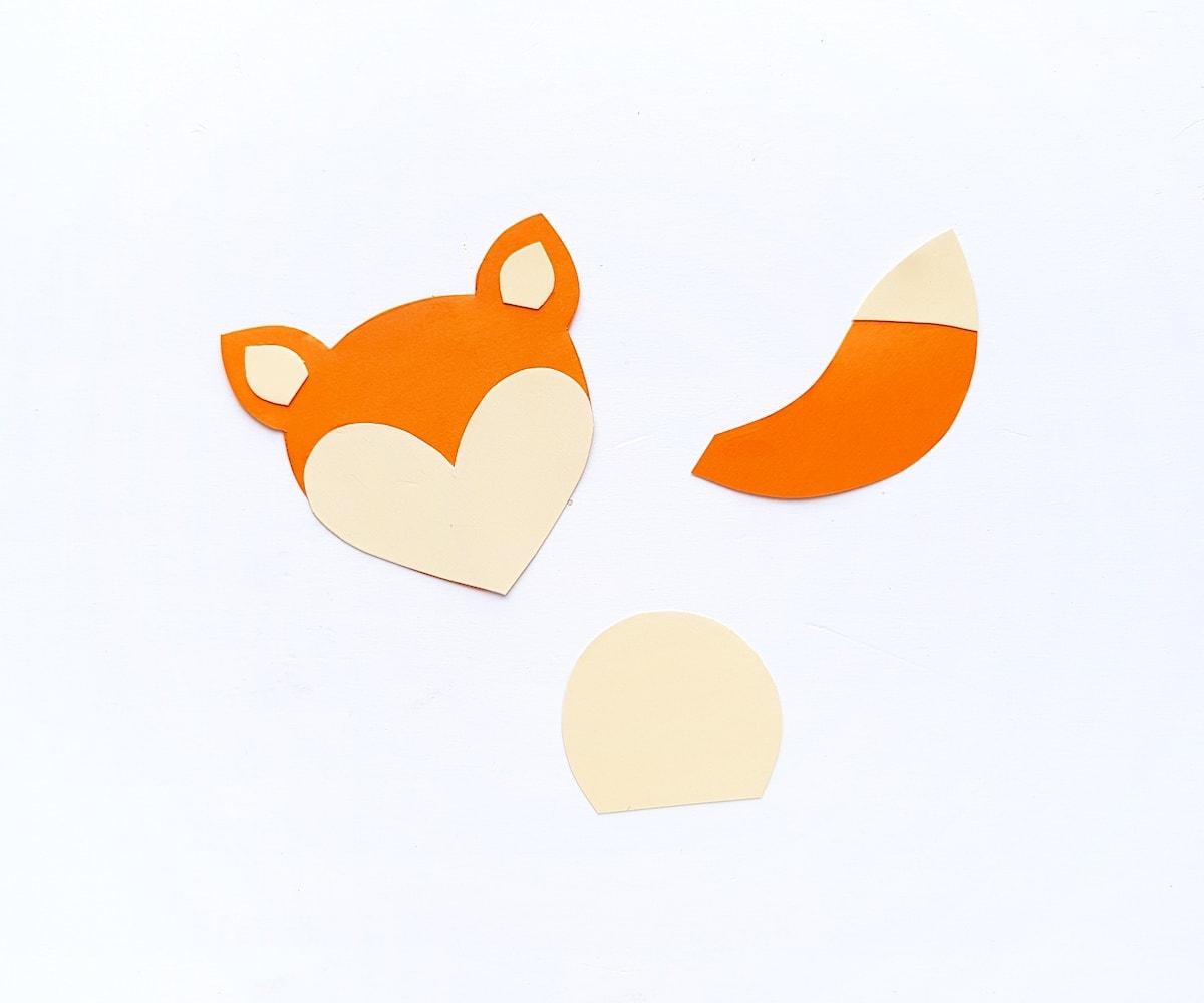 Paper Bag Puppet Fox Templates Step 2