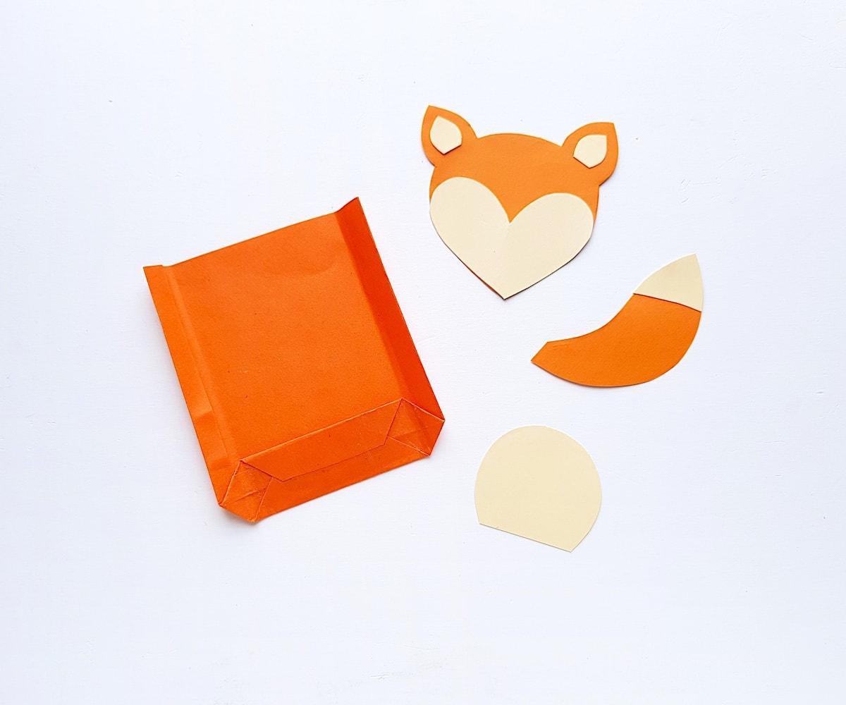 Paper Bag Puppet Fox Templates Step 3