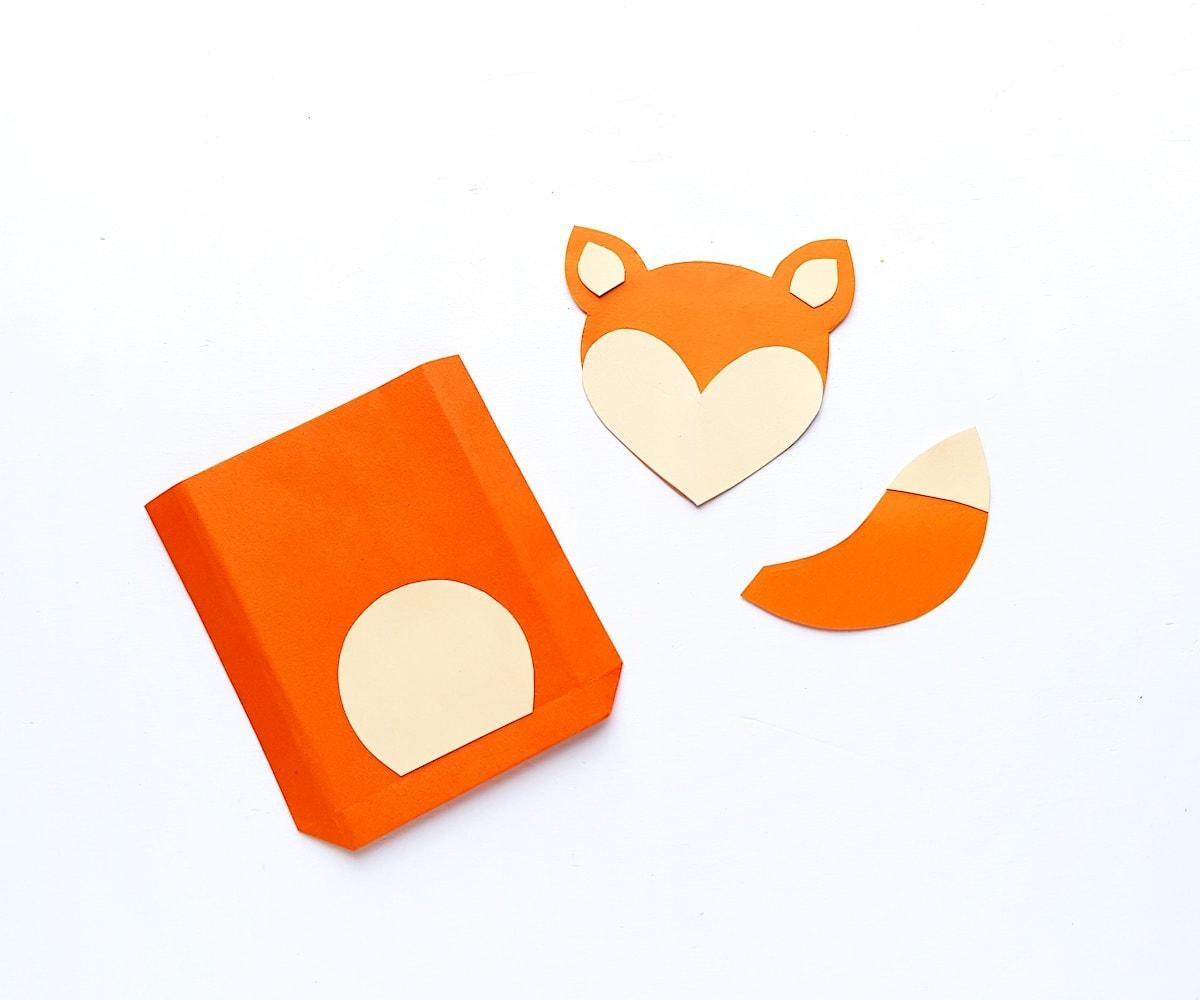 Paper Bag Puppet Fox Templates Step 4