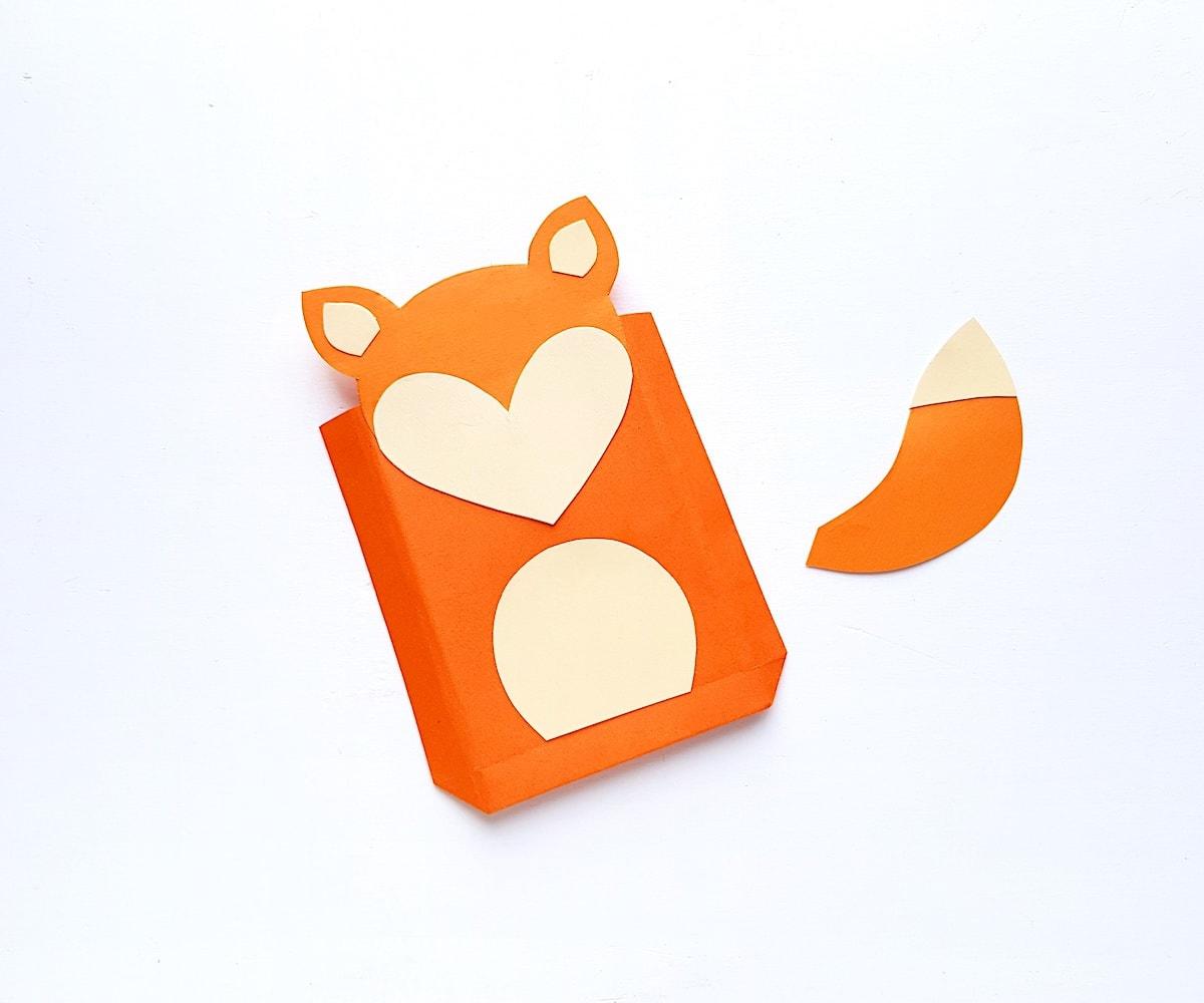 Paper Bag Puppet Fox Templates Step 5