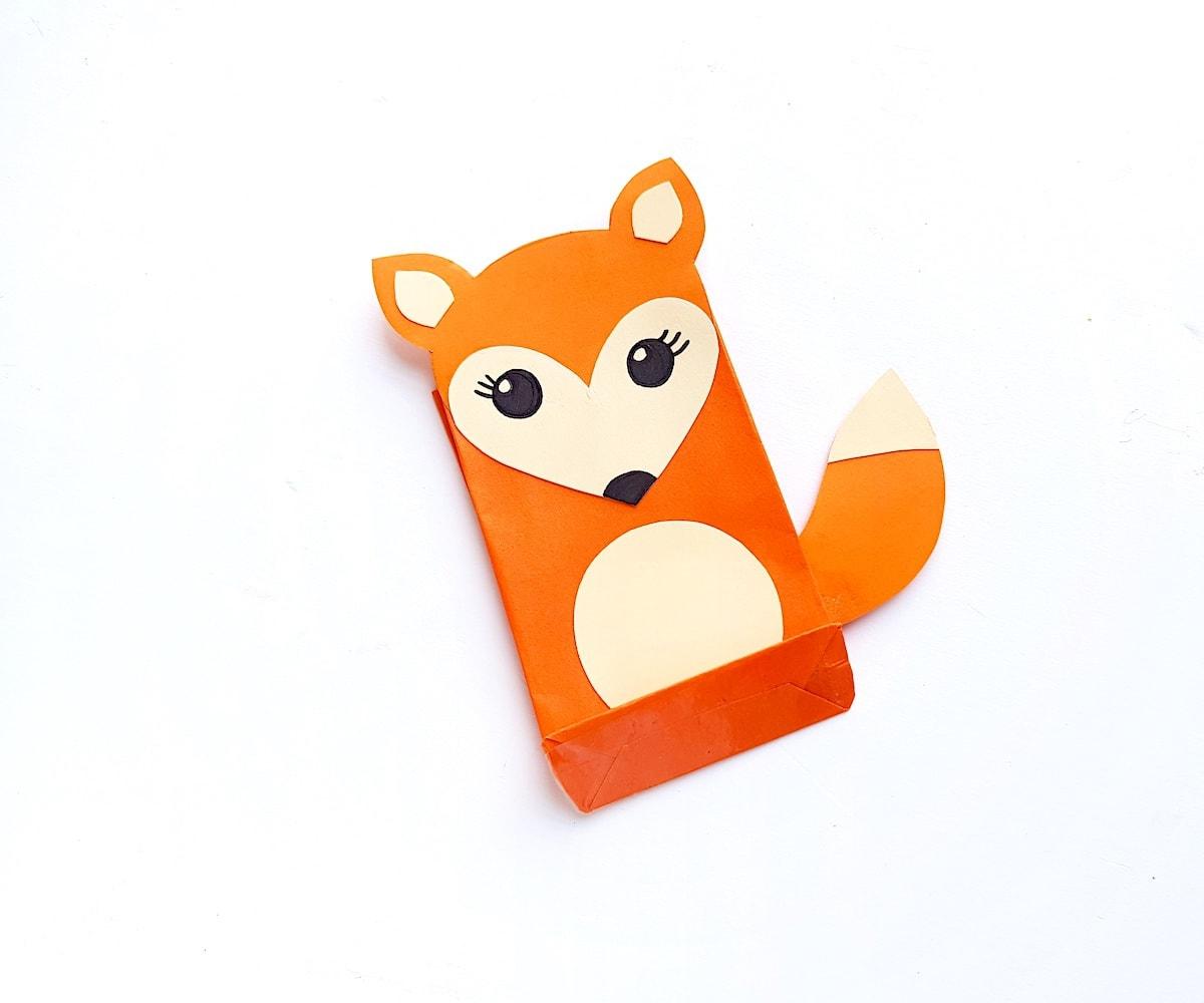 Paper Bag Puppet Fox Templates Step 7
