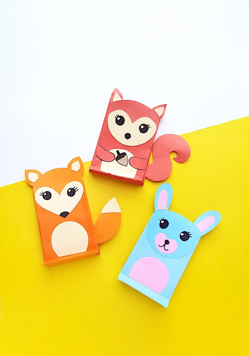 Paper Bag Puppet Rabbit and Fox Templates