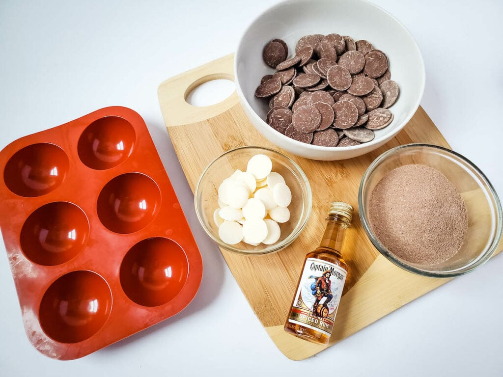 Spiced Rum Hot Chocolate Bombs Supplies